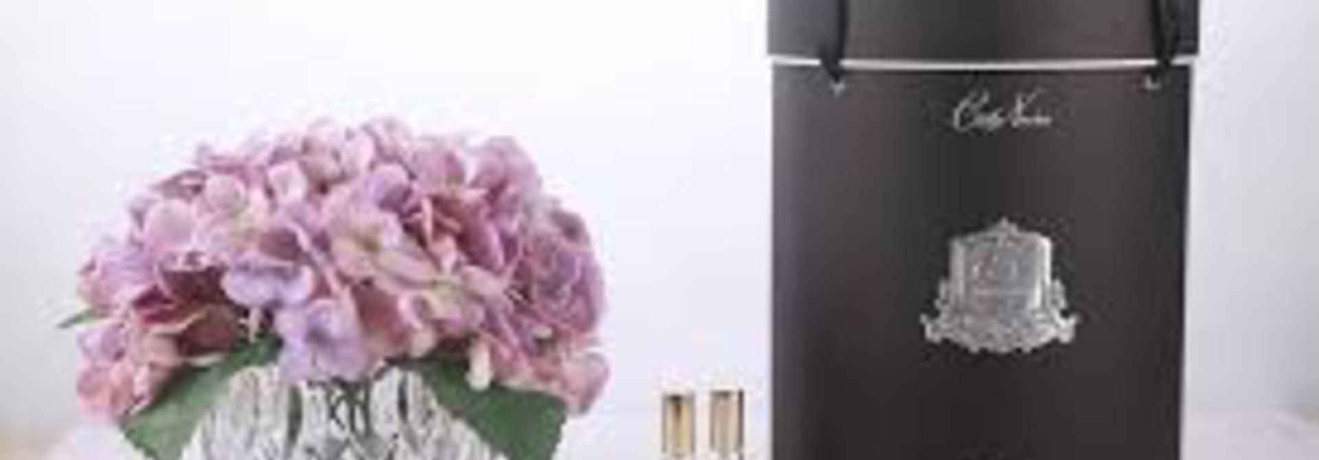 COTE NOIRE - Purple Hydrangeas Flowers Clear Vase