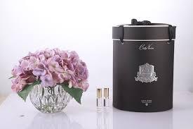 COTE NOIRE - Purple Hydrangeas Flowers Clear Vase-1