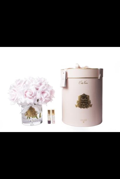 COTE NOIRE - Large Bouquet Roses Pink Clear Vase
