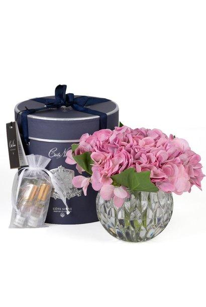 COTE NOIRE - Fleurs Hortensias Mauve Vase Clair