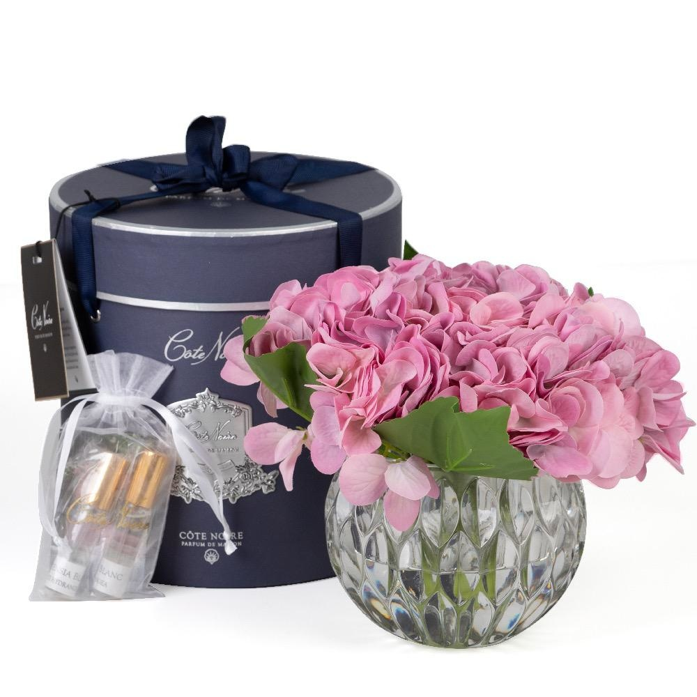 COTE NOIRE - Purple Hydrangeas Flowers Clear Vase-2