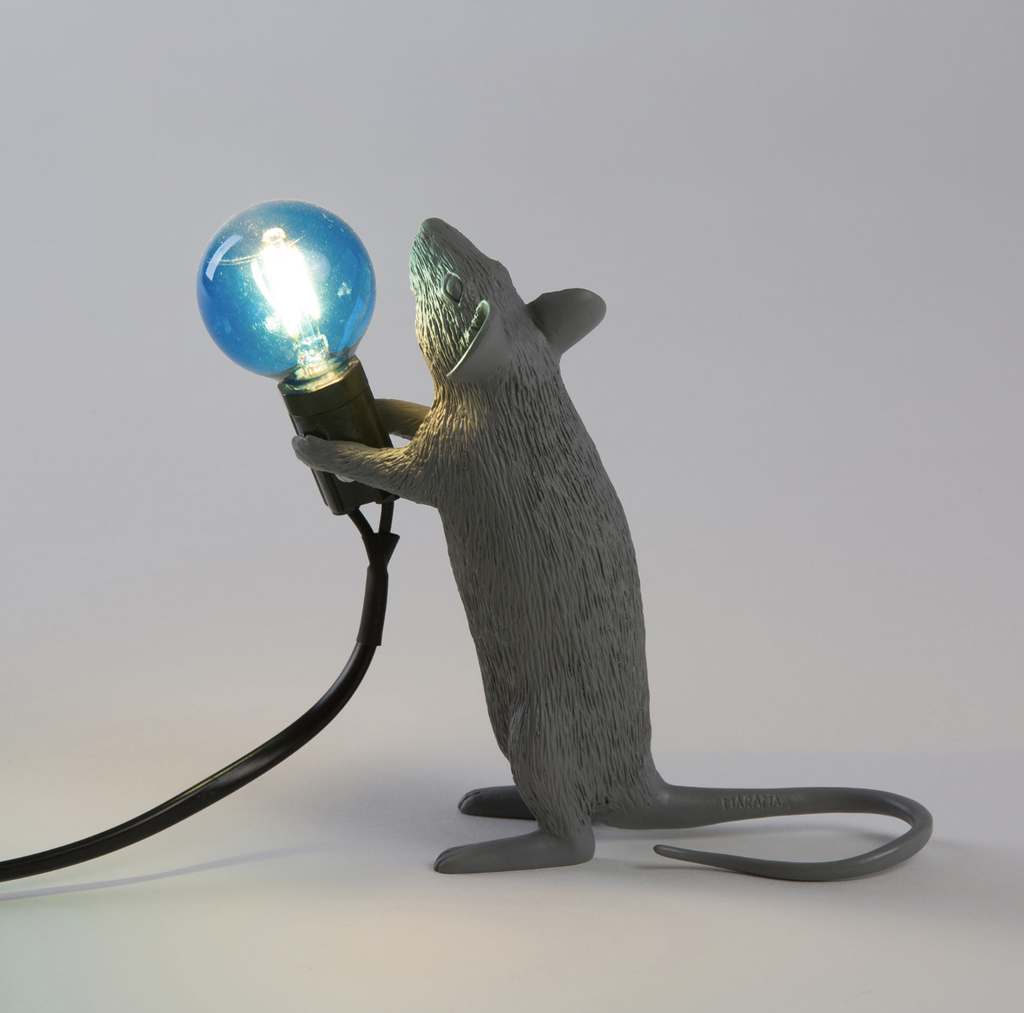 SELETTI - Gray Mouse Lamp-3