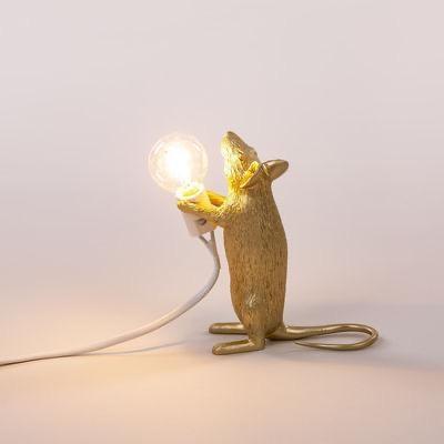 SELETTI - Golden Mouse Lamp-3
