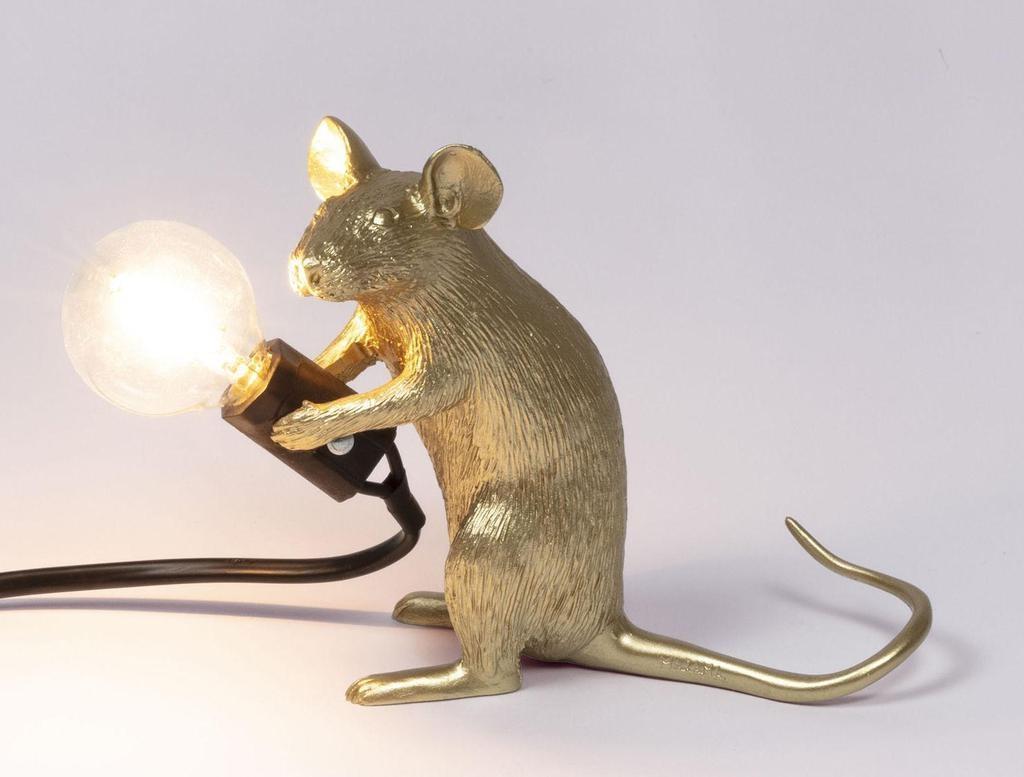 SELETTI - Golden Mouse Lamp-2