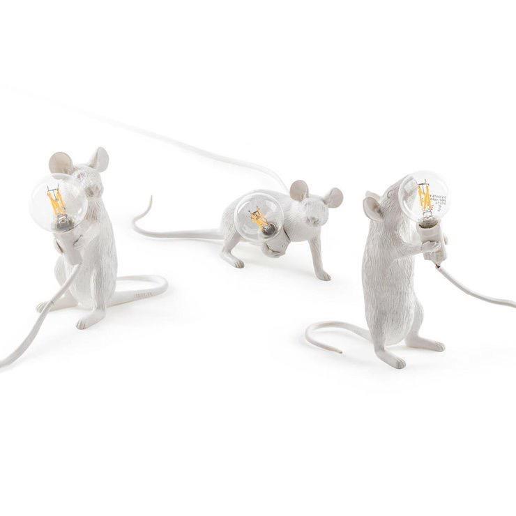 SELETTI - White Mouse Lamp-4