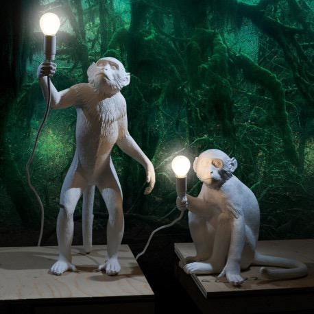 SELETTI - White Monkey Lamp-3