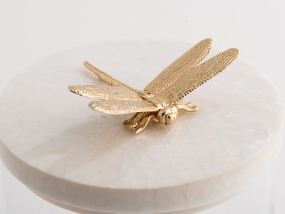 OBJETLUXE - Gold Dragonfly Glass / Mother of Pearl Jar-2