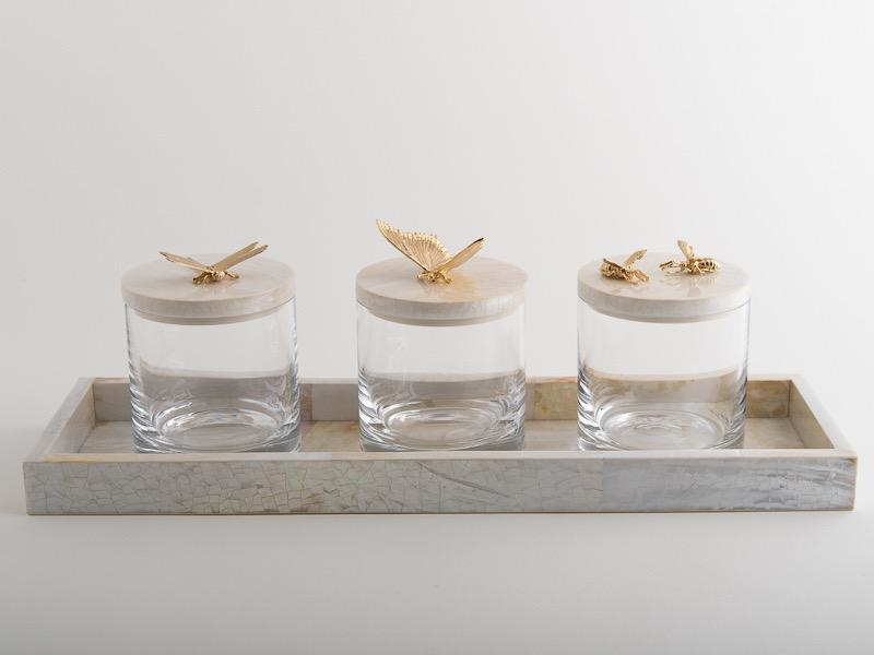 OBJETLUXE - Gold Dragonfly Glass / Mother of Pearl Jar-3