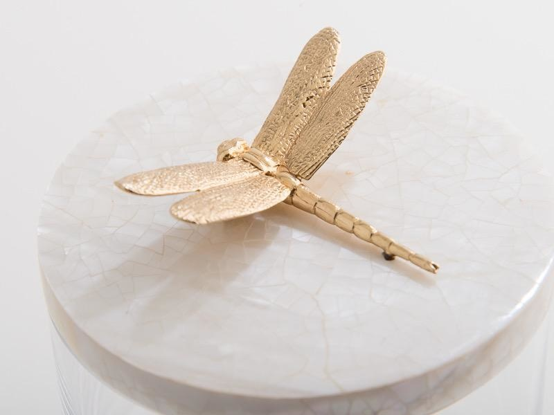 OBJETLUXE - Gold Dragonfly Glass / Mother of Pearl Jar-5