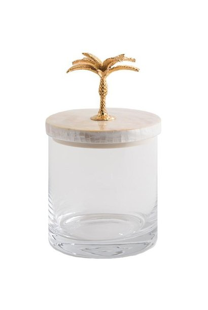 OBJETLUXE - Gold Palm Tree Glass / Mother of Pearl Jar