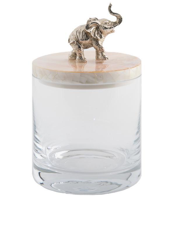 OBJETLUXE - Elephant Glass / Mother of Pearl Jar-1