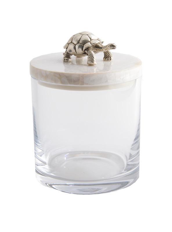 OBJETLUXE - Glass / Mother of Pearl Turtle Silver Jar-1