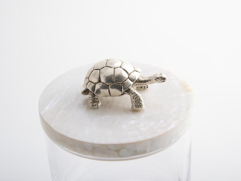 OBJETLUXE - Glass / Mother of Pearl Turtle Silver Jar-3