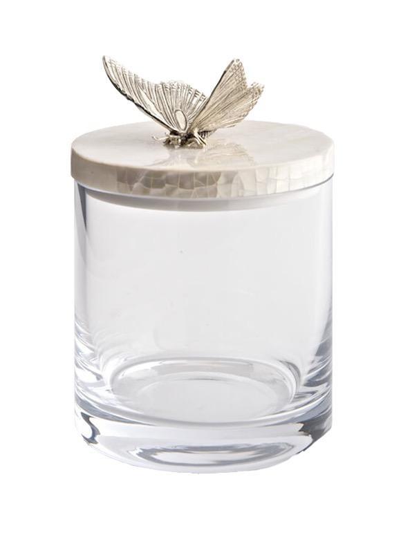 OBJETLUXE - Glass / Mother of Pearl Butterfly Jar Silver-1