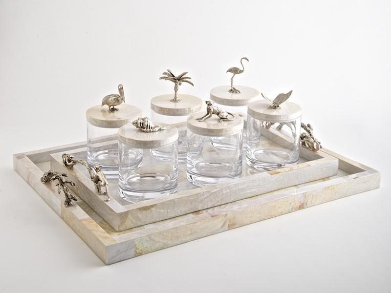OBJETLUXE - Glass / Mother of Pearl Butterfly Jar Silver-5