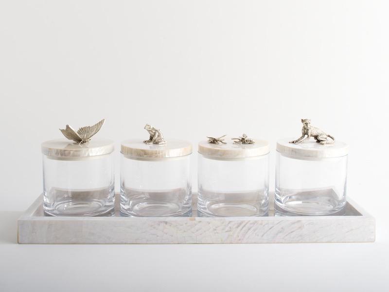 OBJETLUXE - Glass / Mother of Pearl Butterfly Jar Silver-6