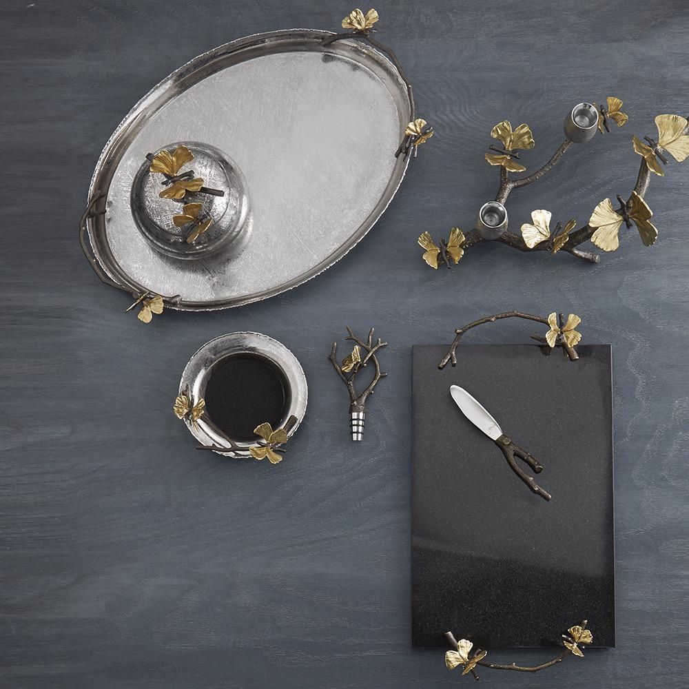 MICHAEL ARAM - Ginkgo Butterfly Granite Cheese Tray-3