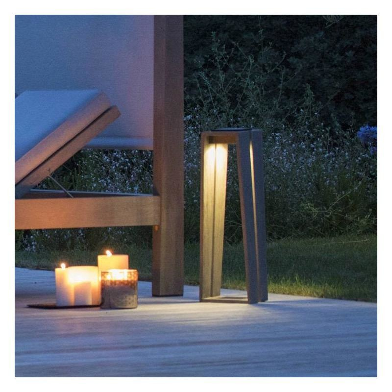 LES JARDINS - Skall Solar Lantern Teak 23x23x65cm-3