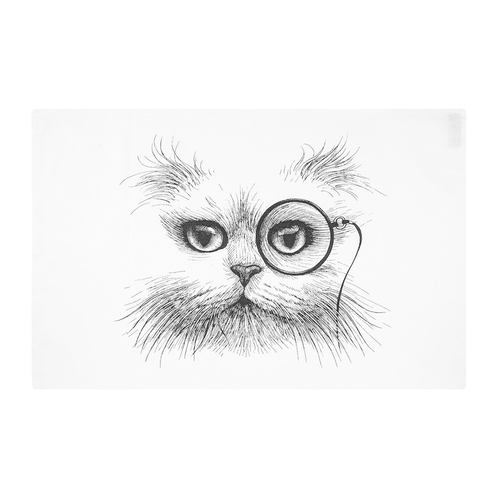 RORY DOBNER LIMITED - Cat Monocle Tea Towel-1