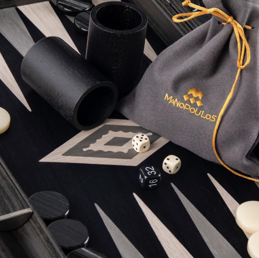 MANOPOULOS - Backgammon game Pearl Gray Small-4