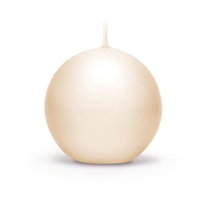 PERNICI - Ivory Lacquered Sphere Candle D.10cm-1