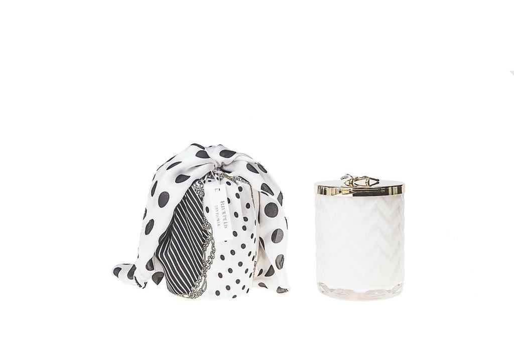 COTE NOIRE - Candle Herringbone White Scarf-2
