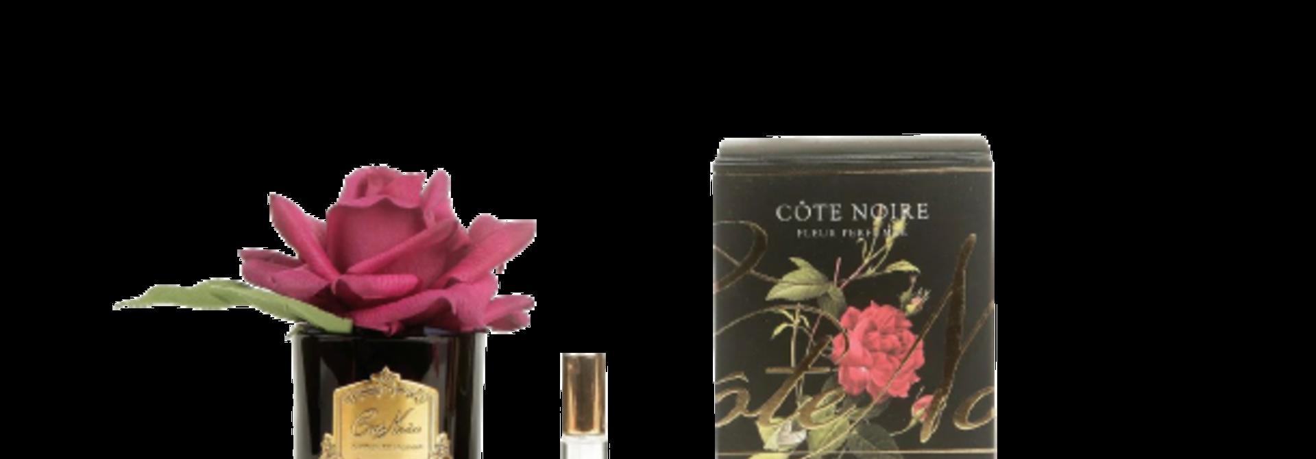 COTE NOIRE - Carmine Red Rose Flower Black Vase