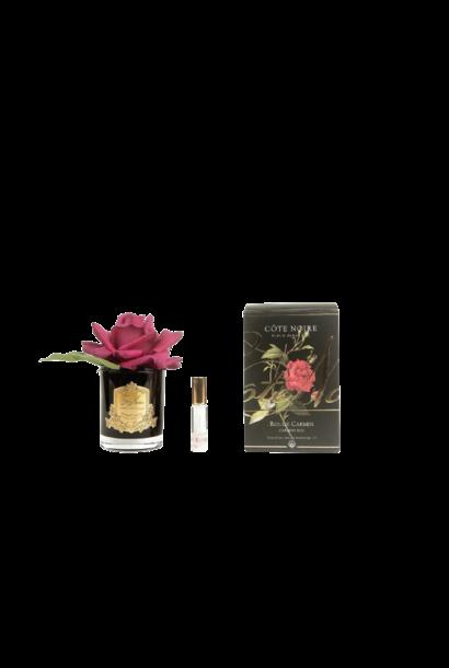 COTE NOIRE - Fleur Rose Rouge Carmin Vase Noir