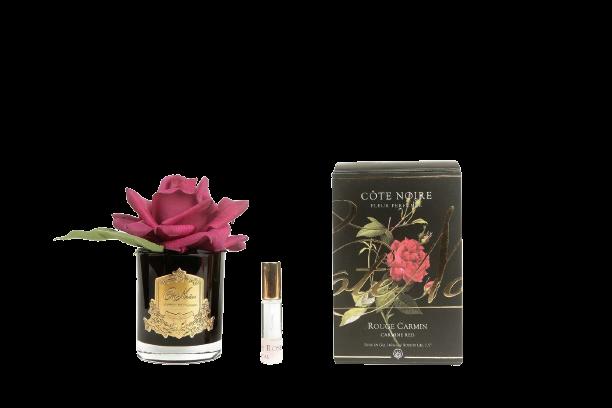 COTE NOIRE - Carmine Red Rose Flower Black Vase-1