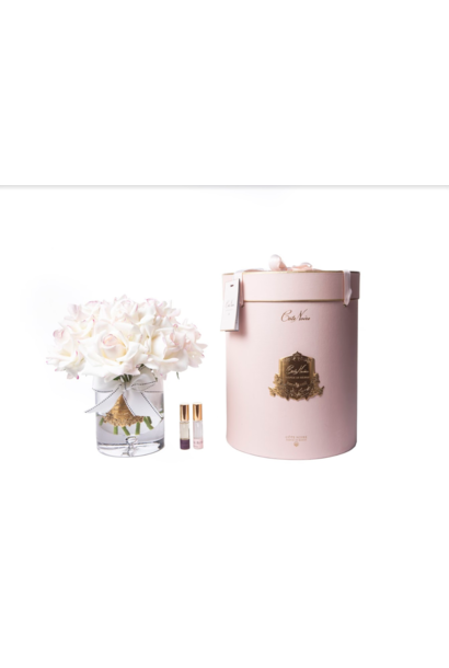COTE NOIRE - Grand Bouquet Roses Blush Vase Clair