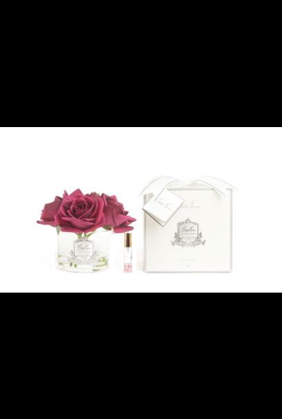COTE NOIRE - Fleurs 5 Roses Rouge Carmin Vase Clair
