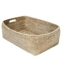 PAGAN - Escale Ceruse Rattan Basket 65x44x21cm-1