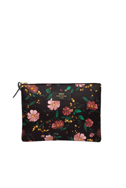 WOUF - Black Flowers XL Pouch