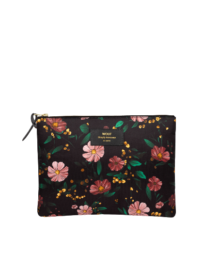 WOUF - Black Flowers XL Pouch-1