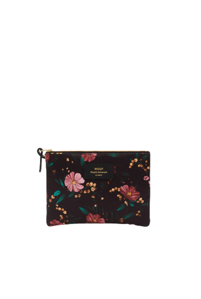 WOUF - Large Black Flowers Pouch