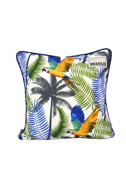 OU EST MARIUS - Fabulous Blue Aras Cushion 45x45cm