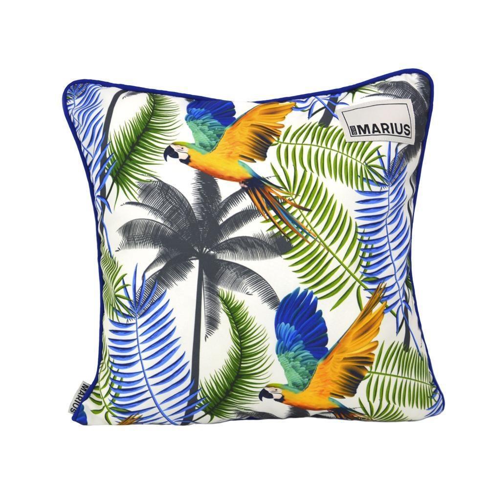 OU EST MARIUS - Fabulous Blue Aras Cushion 45x45cm-1