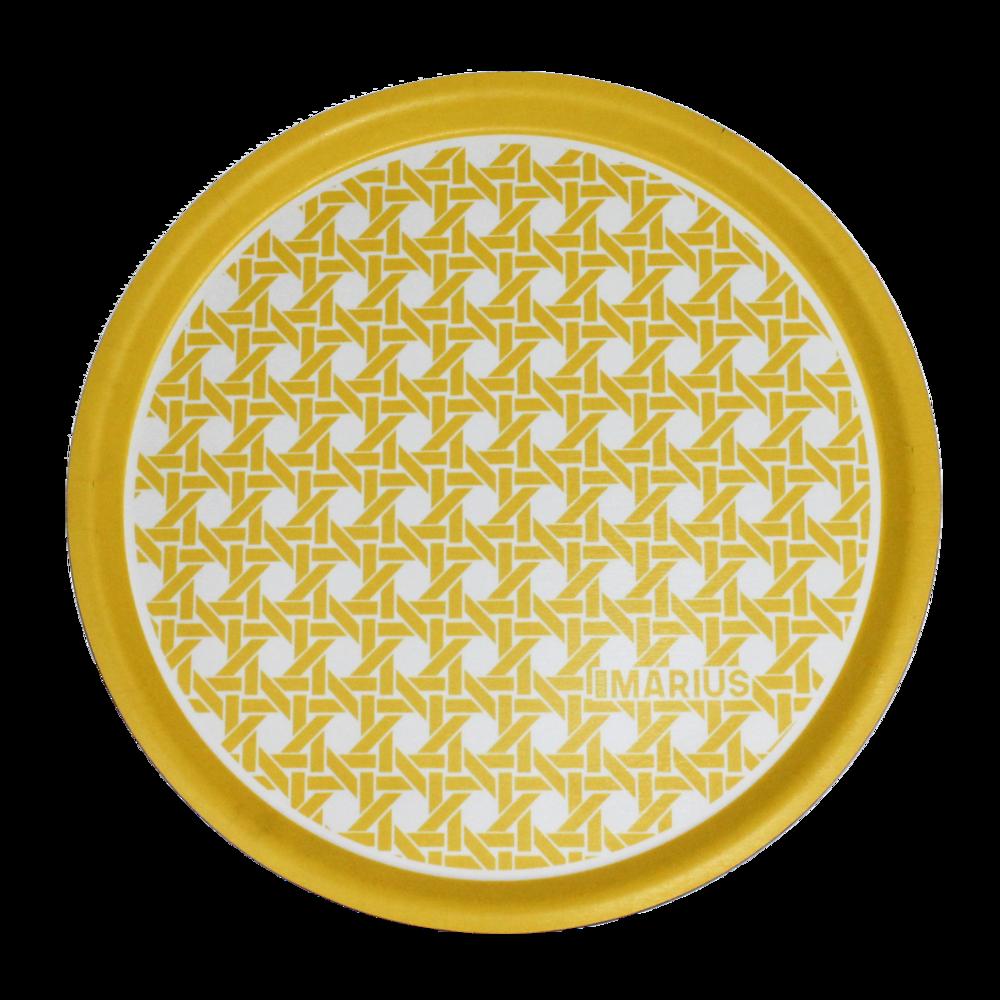 OU EST MARIUS - Yellow Round Tray Cannage D.45cm-1