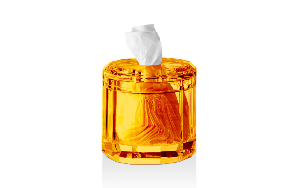 DECOR WALTHER - Crystal / Amber Tissue Box-1
