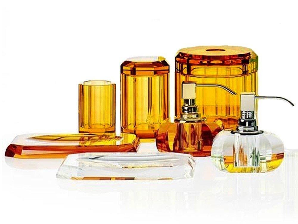 DECOR WALTHER - Crystal / Amber Tissue Box-2