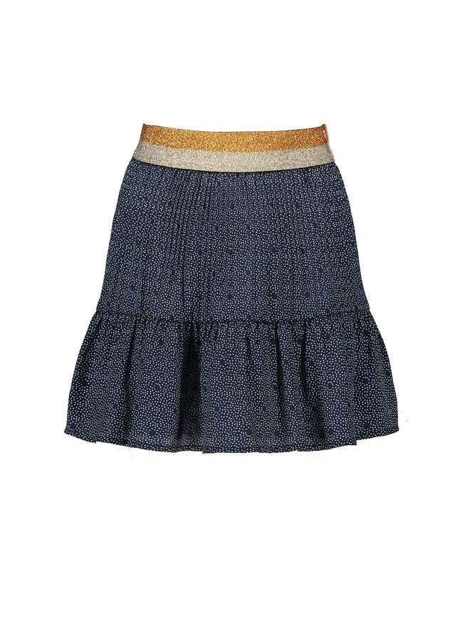 Nulan Pleated Skirt AOP dots on satin with gold lurex waistband - Navy Blazer