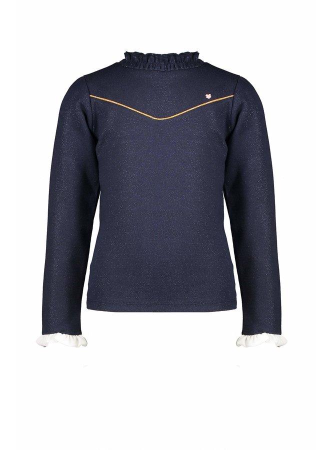 Kat LS t-shirt ruffled collar+sleeve - Navy Blazer