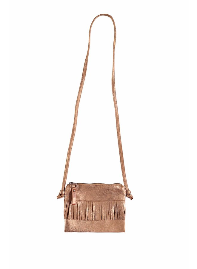 Bag with fringes in soft suede - Cinnamon