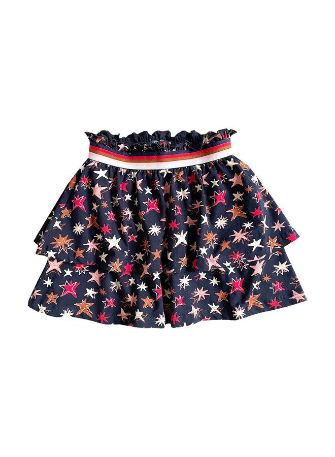 Livie skirt  - dark blue Star AOP