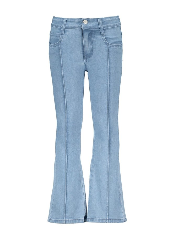 Girls denim flair pants, ruffles at front pockets - Free denim