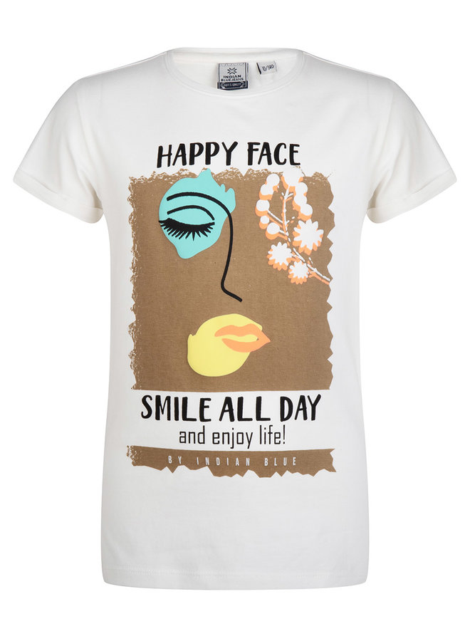 T-SHIRT SS HAPPY FACE - Off White