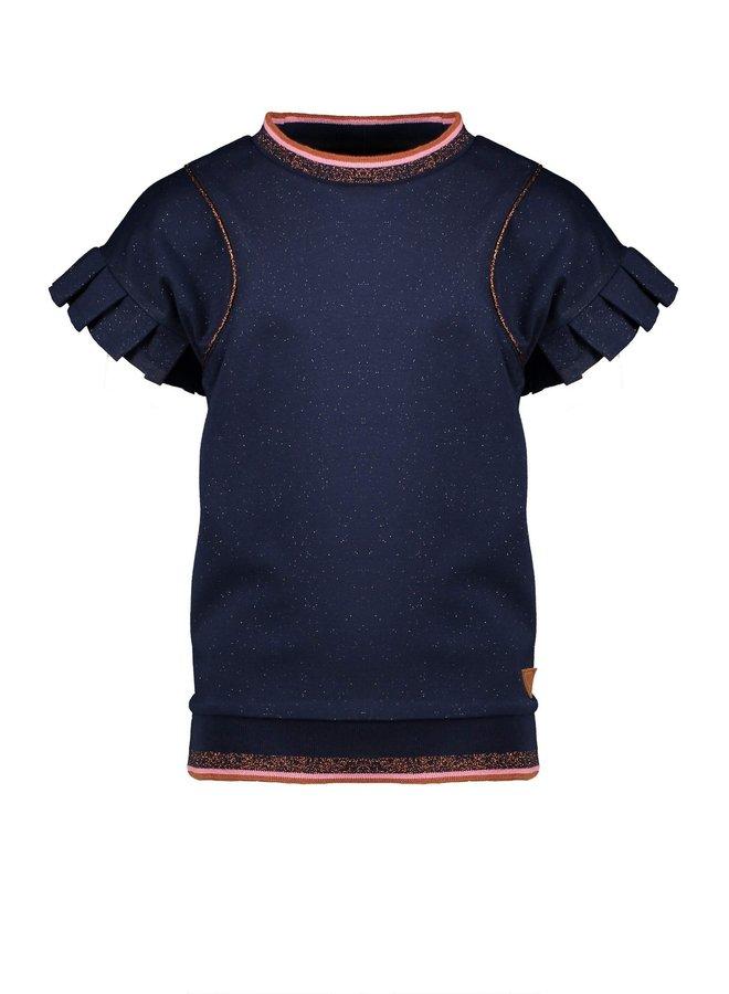 Kiwa sweat top s/sl with bat sleeves with pleated edge - Navy Blazer