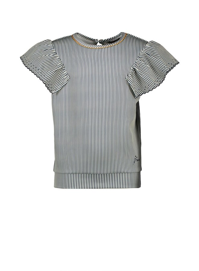 Kiwi top fancy sleeve AOP stripe on punta di roma - Navy Blazer