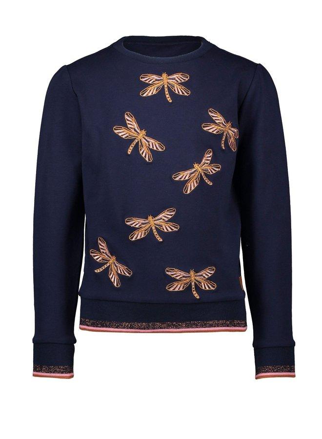 Kylia sweater with dragonflies embroidery - Navy Blazer