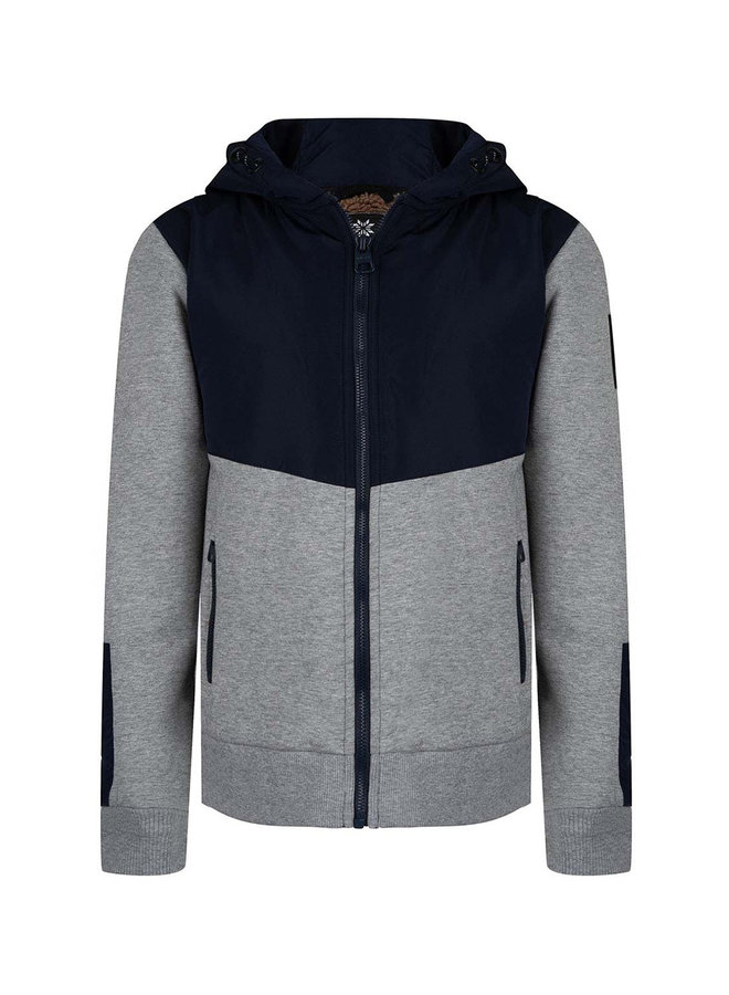 HOODED ZIPPER TEDDY - Navy Blue